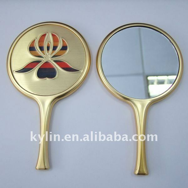 cosmetic one side plastic makeup mirror with hand
