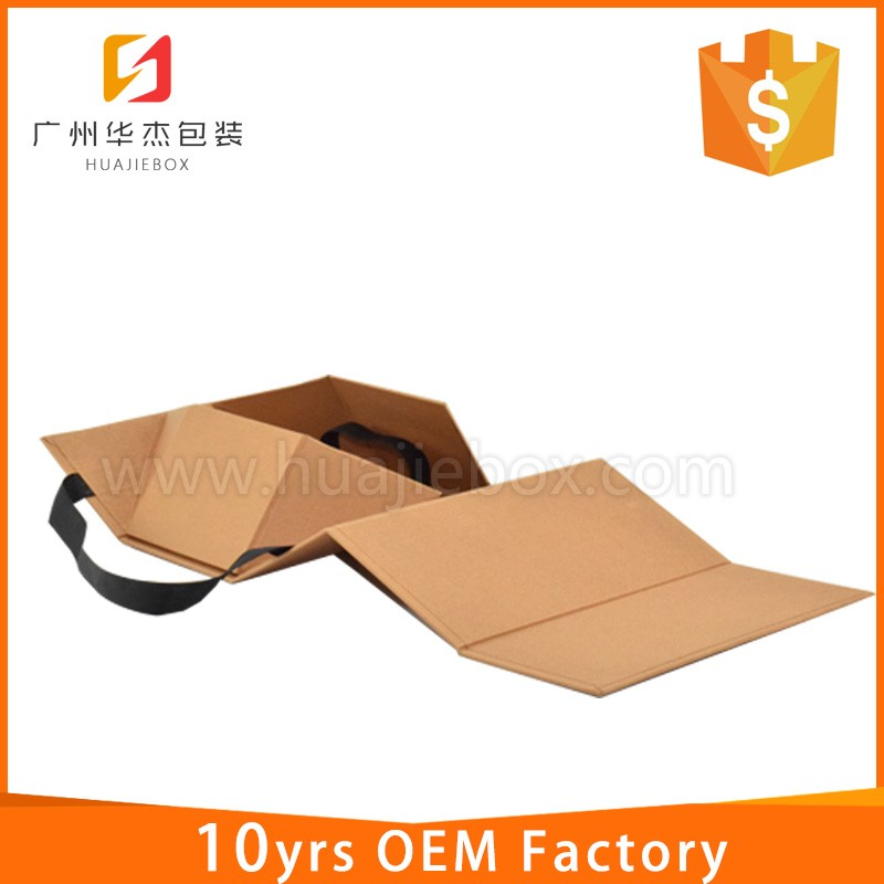 Brown Kraft Paper Folding Shoe Box With Flat Handle