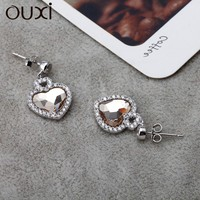 OUXI 925 silver jewelry earring stud with loose gemstones, heart style crystal