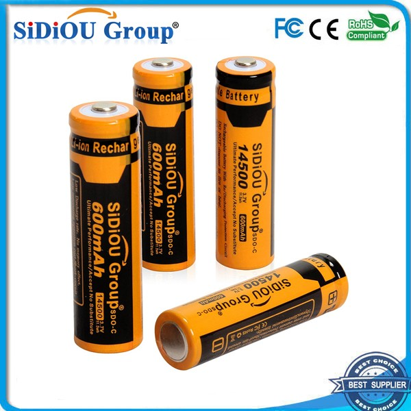Sidiou Group Powerful 14500 Lithium Ion Battery 3.7V 600mAh Rechargeable Battery for LED flashlight (A Set of 4 Pieces)