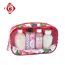Rose printed makeup travel toilet pouch cosmetic clear pvc bag