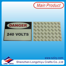 Etching small metal sign aluminium metal label with strong 3M adhesive from custom nameplate maker in China