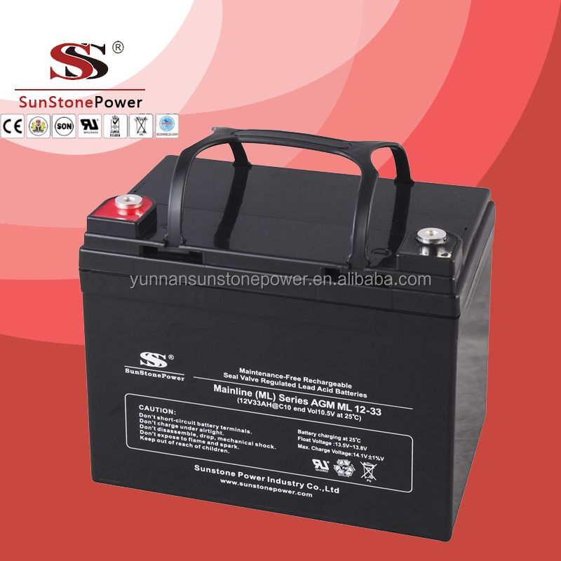 Gel battery 12v 33ah VRLA Rechargeable Deep Cycle Lead Acid AGM UPS battery