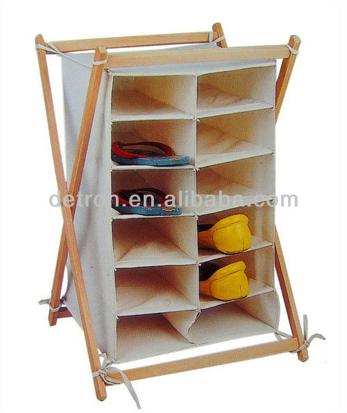 Comfortable Wood Canvas Shoe Display Shelf