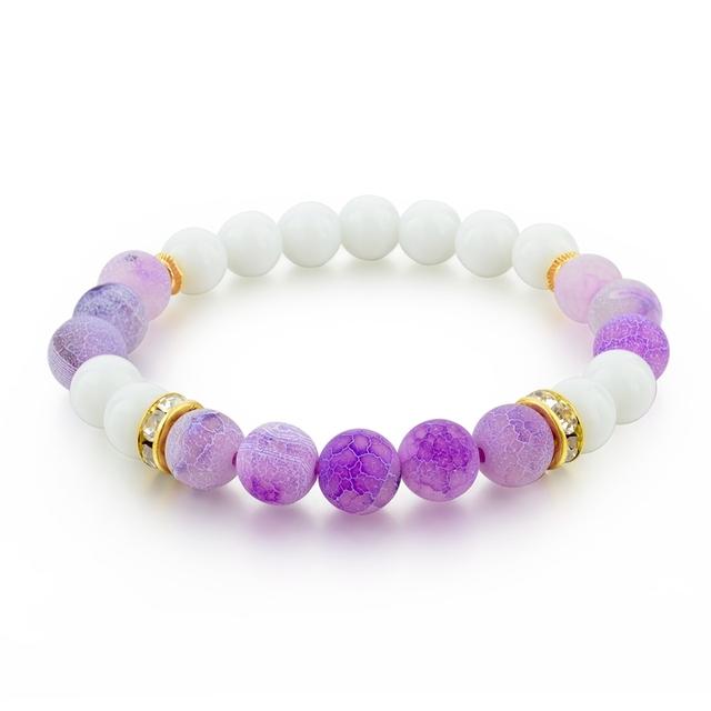 Fashion natural purple cracked matte agate gemstone bead bracelet men