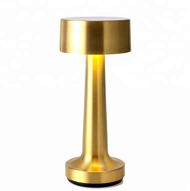 creative rechargeable LED table night light Mini gold cordless restaurant touch pool usb table <strong>lamp</strong> for hotel and bar