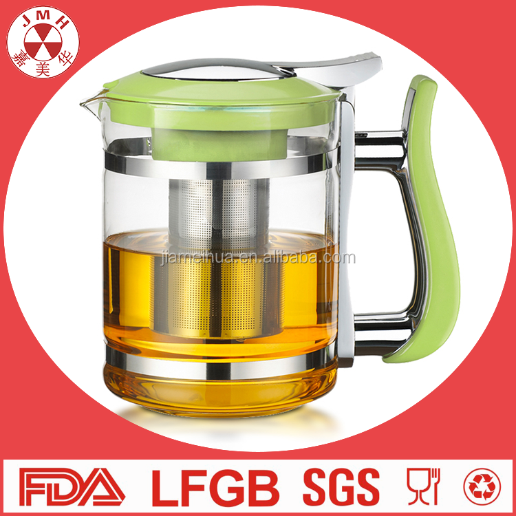 Factory price transparent glass teapot with stainless steel infuser