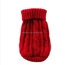 Classic design red color cable knitting pattern wholesale dog clothes