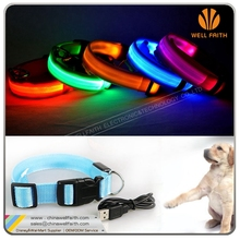 LED USB Rechargable Flashing Waterproof retractable Pet Dog Collars innovative new product