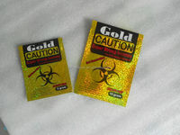 Gold caution 3g 10g herbal incense preprinted/stock/inventory bags