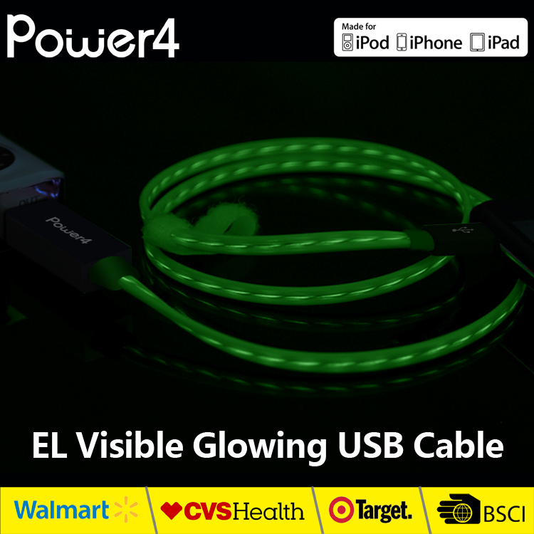 New visible flowing light flat el usb cable for iPhone /iPod/iPad