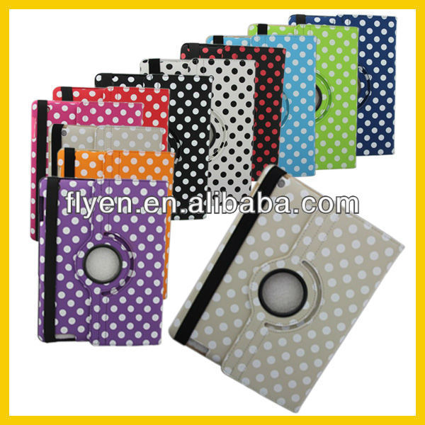 For Apple iPad 3 For iPad 2 360 Rotate Polka Dot Leather Case Cover Swivel Stand Price Cheap Quality Good