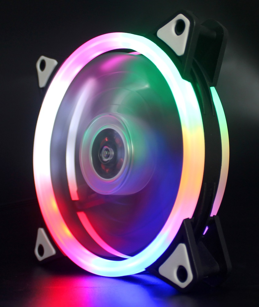 12025 Dual Ring RGB Case Fan with Programmable Rainbow Led <strong>Light</strong> and <strong>Controller</strong>