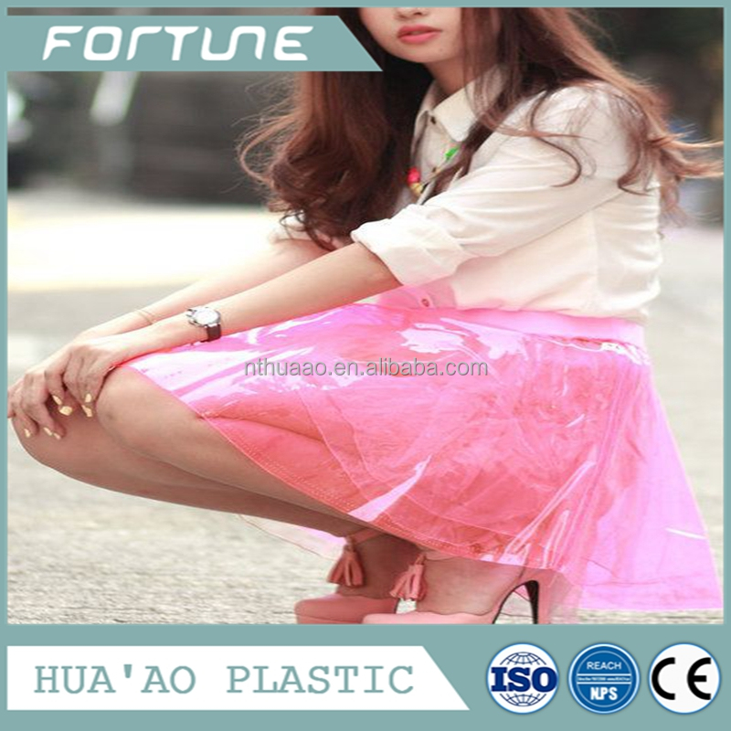Plastic color skirt and short pants pvc clothes making material