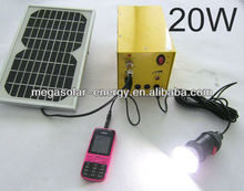 20W Small Portable Solar DC Lighting System with 2USB port for smart phones charger