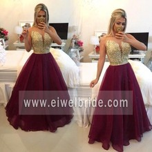 Elegant scoop neck beaded burgundy long chiffon see-through evening dress