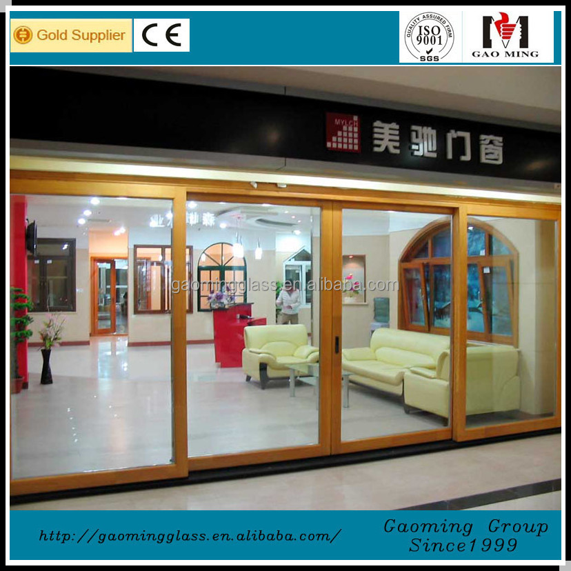 2mm powder coating aluminum frame tempered glass 3 panel sliding glass door