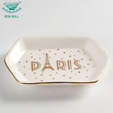 Promotional high quality hand painted irregular shape ceramic jewelry tray ring holder