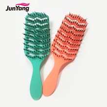 Curve hair brush with nylon and boar bristle