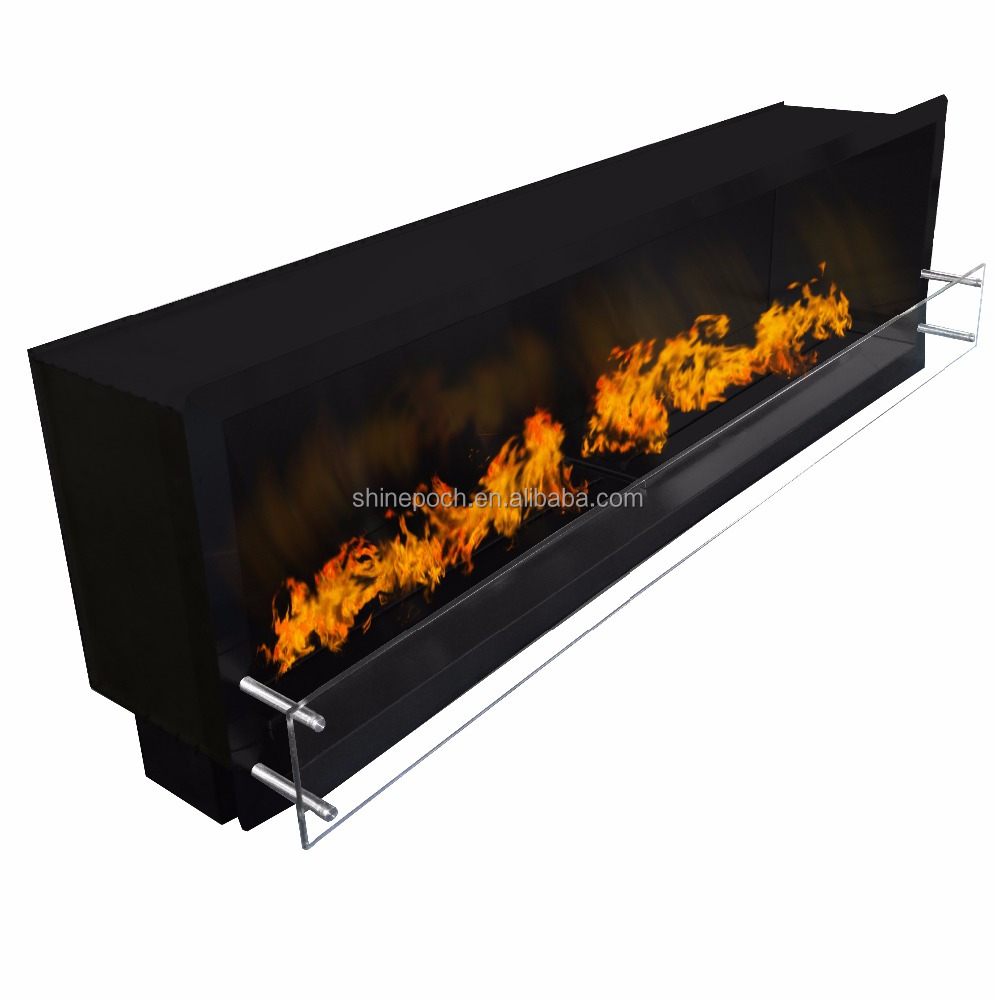 China Customizable Wall Inserted Firebox Black Coating Inserted Bio Ethanol Fireplace