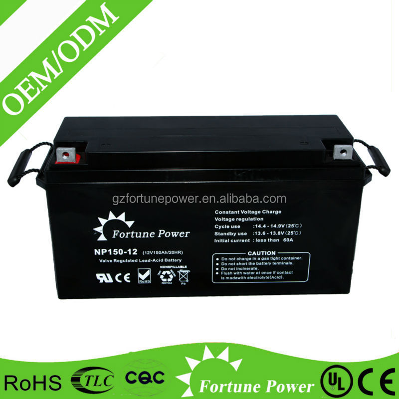 12v150ah made in China high capacity AGM storage rechargeable battery for solar system