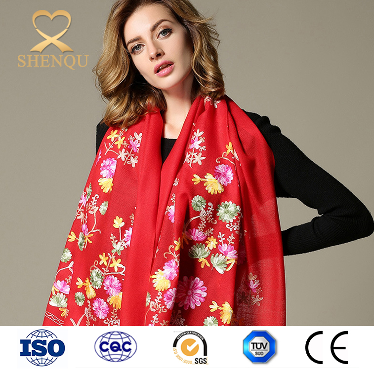 2017 Red color Embroidered 100% Wool Scarf crochet winter warm cashmere shawl