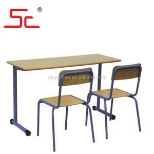Double seat cheap student desk and chair set for college