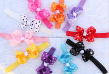 Wholesale Baby Dot Stripe Ribbon Bows Elastic Hairband