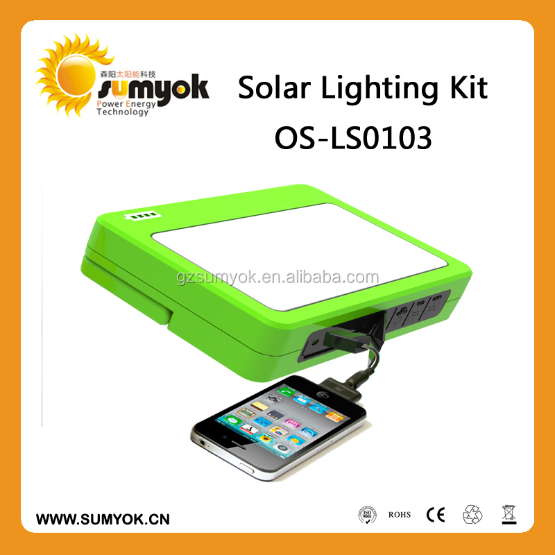 2015 New arrival 5W Portable solar lighting kits with built-in Warning lights OS-LS0103