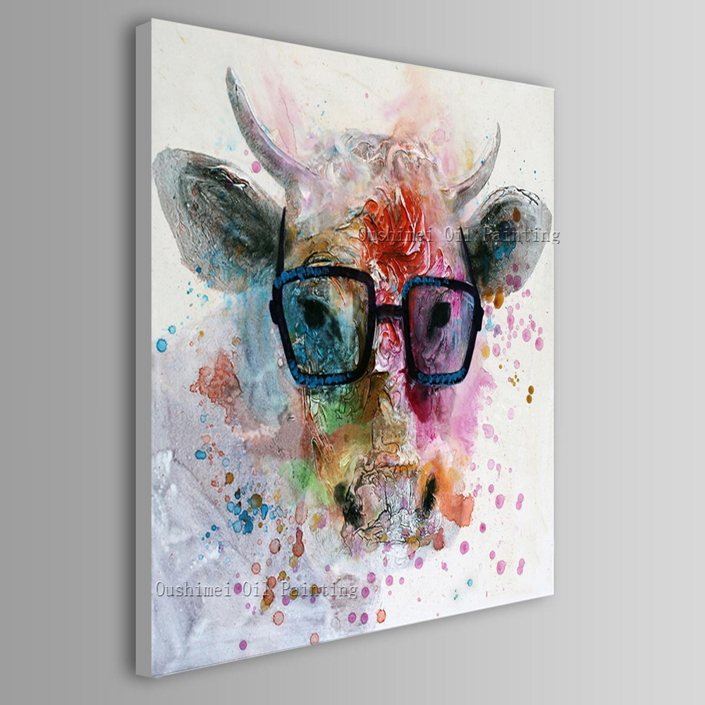 Fashion Designed Skills Artist Hand-painted Excellent Modern Pop Oil Painting On Canvas Abstract Animal Cow Oil Painting Artwork