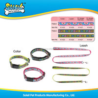 Factory Wholesale Embroidered Nylon Pet Dog Collar Pet Leash With Stylish Pattern