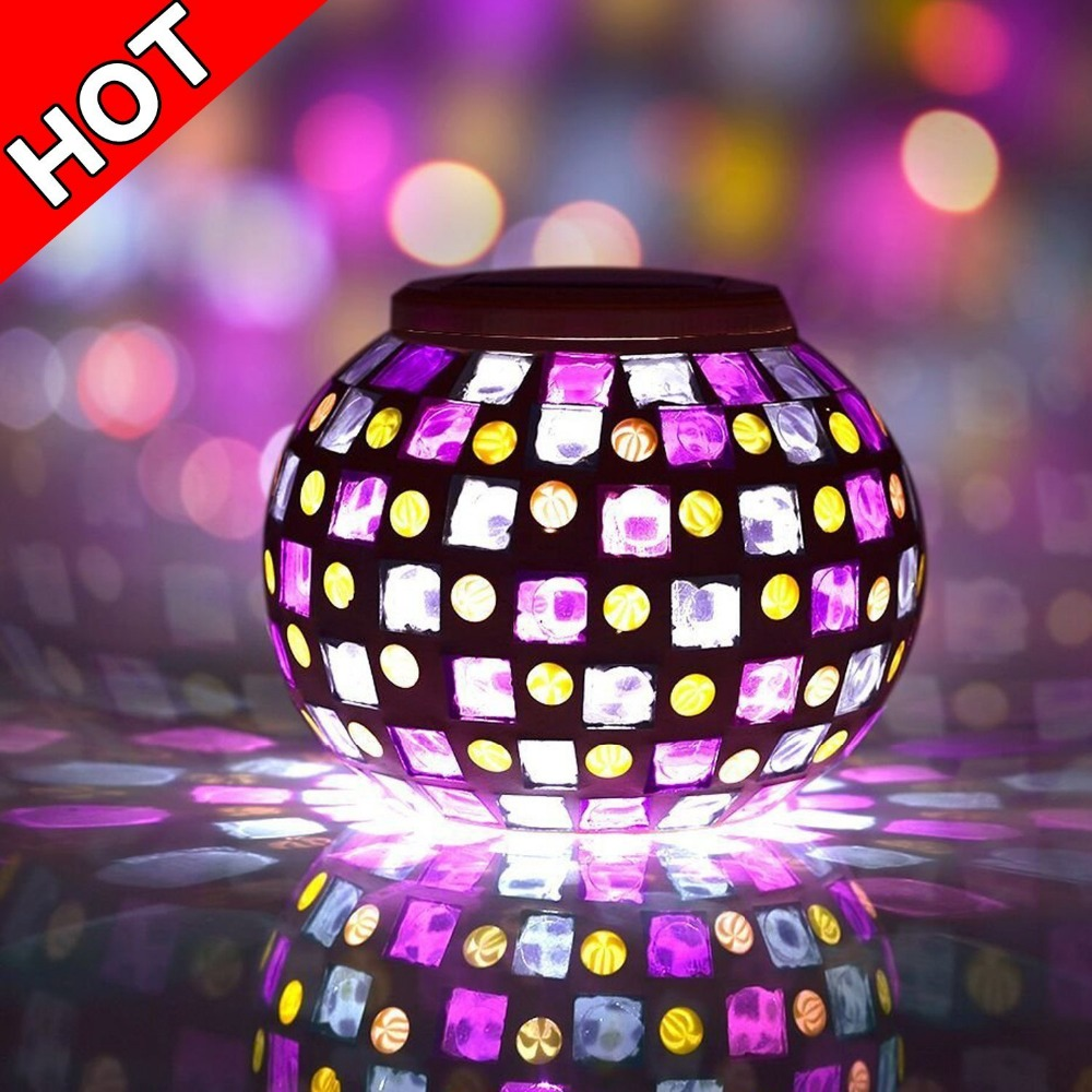 Solar Powered Mosaic Glass Ball LED Garden Lights,Color Changing Solar Table Lamps,Waterproof Solar Outdoor Lights
