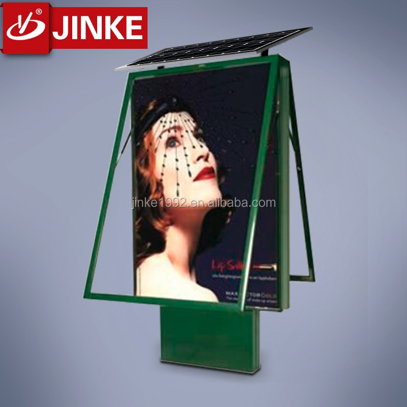JINKE Outdoor Solar Powered Street Light Advertising Lightbox with 40W LED Back-Lit For Germany