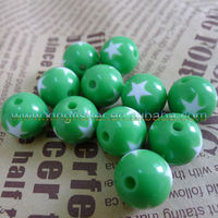 Round solid green colors star prints chunky beads for making bubblegum necklaces 12mm/16mm/20mm available