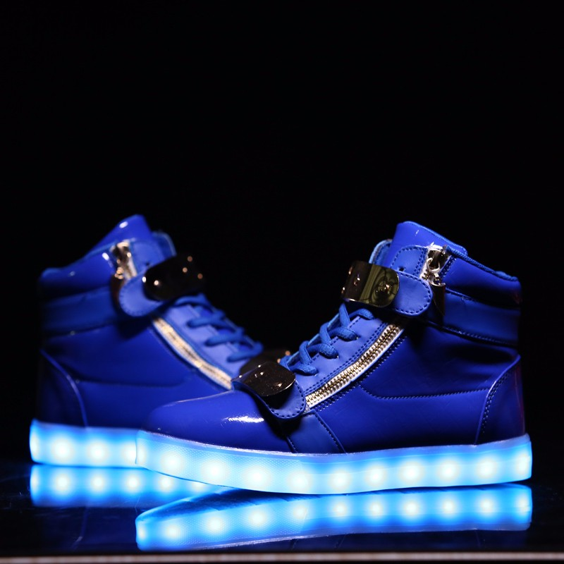 high-top LED shoes with 7 colors for adult man and woman,with light-emitting and bluetooth