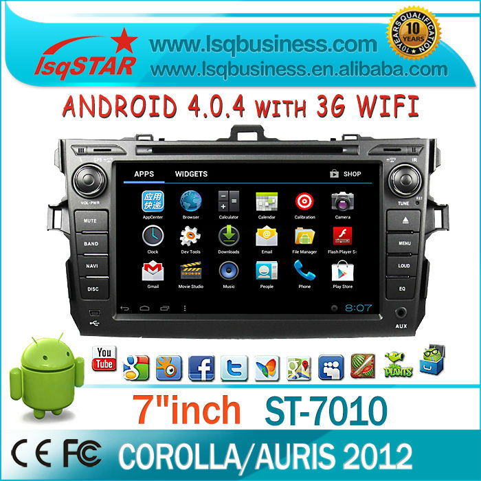 Android 4.0 2012 Toyota Corolla/ Auris Car DVD GPS Navigation Radio bluetooth swc ipod and 3G WIFI CPU 1G Flash 4G