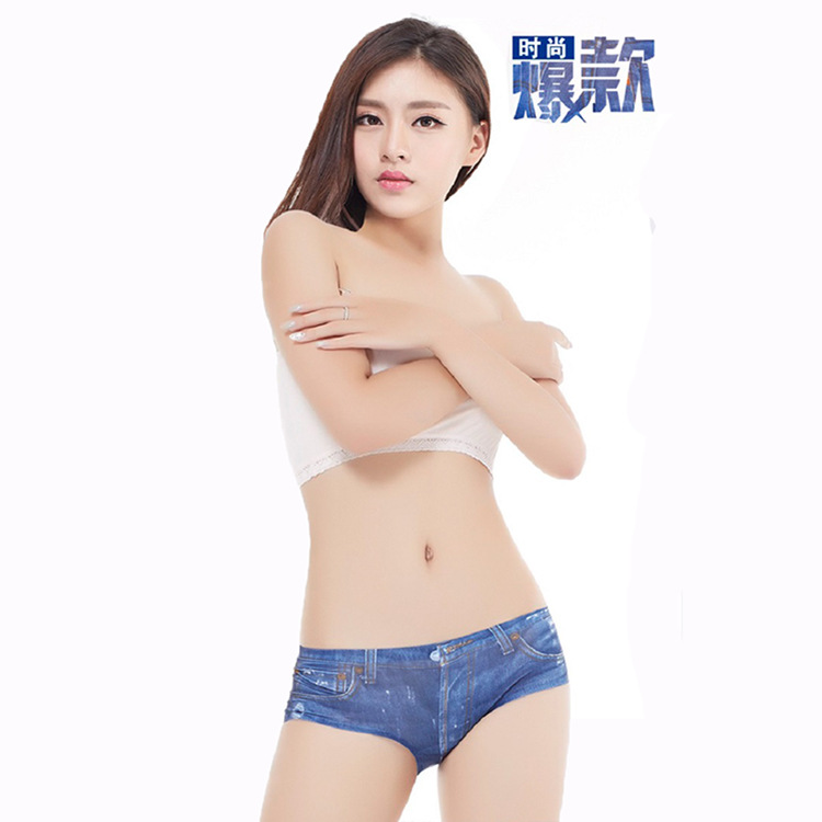 One-piece 3D Cowboy Printing Seamless Ice Cotton Women Brief Underwear T-back Underpants