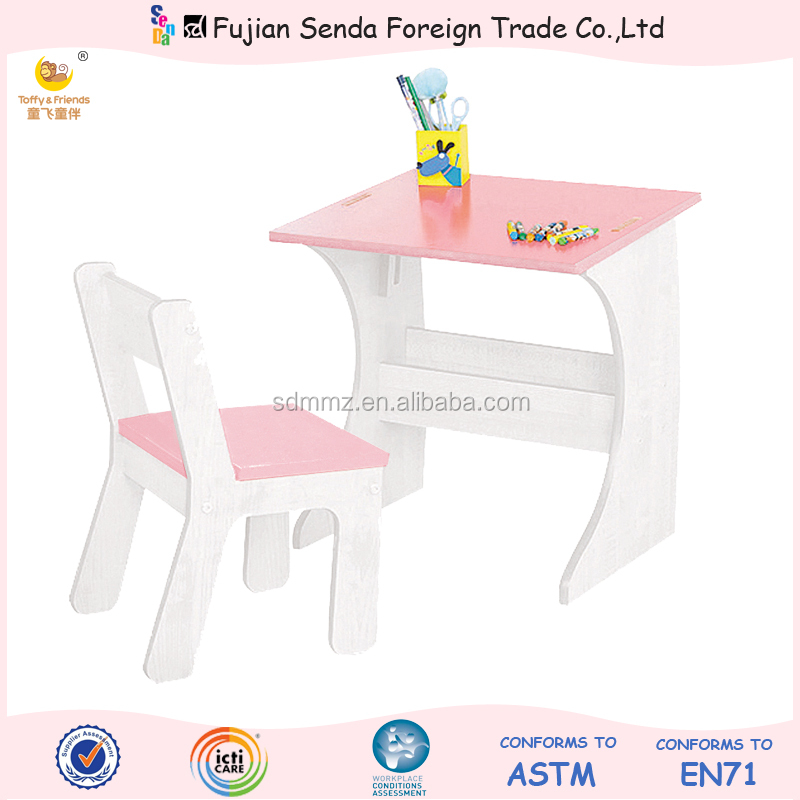 Wooden Kid Pink Desk and Chair Set Chalkboard Table Adjustable Table
