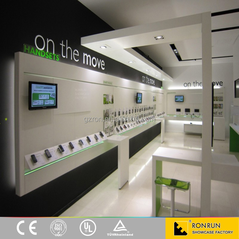 Lastest Design Modern Style Mobile Phone Display Counter Mobile Phone Shop Interior Design