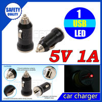 Promotinal low cost free shipping colorful 5v 1a bullet single usb car charger