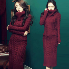 DL20056E 2017 fashion ladies high neckline maxi long sweater dress woman winter knitted wool dress