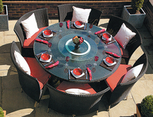 outdoor furniture garden black rattan chair glass top dining round table with rotating centre and chairs set AA3005