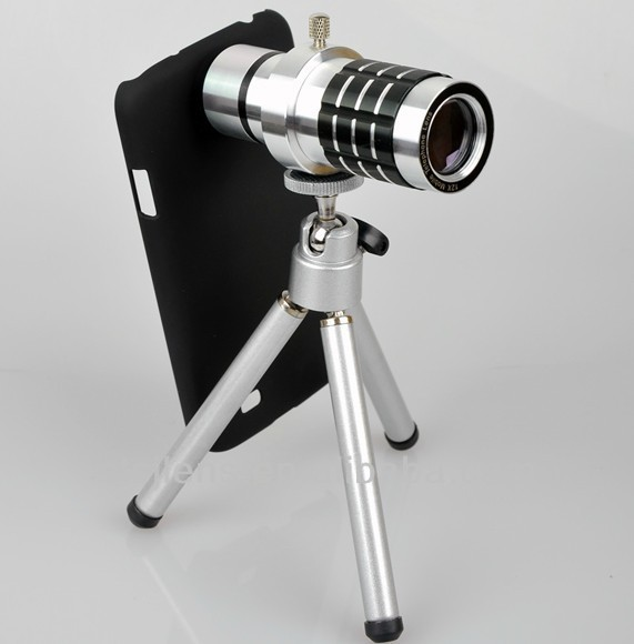 Aluminum New 12X camera zoom lens telescope for mobile phone iphone camera lens