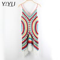 Ladies hollow-out fringed hem sleeveless summer hand knit vest sweater