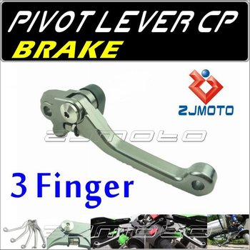 ZJMOTO Dirt bike Motorcycle 3-Finger Pivot brake Lever Adjustable aluminum CNC lever For SUZUKI RM125/250 2004-