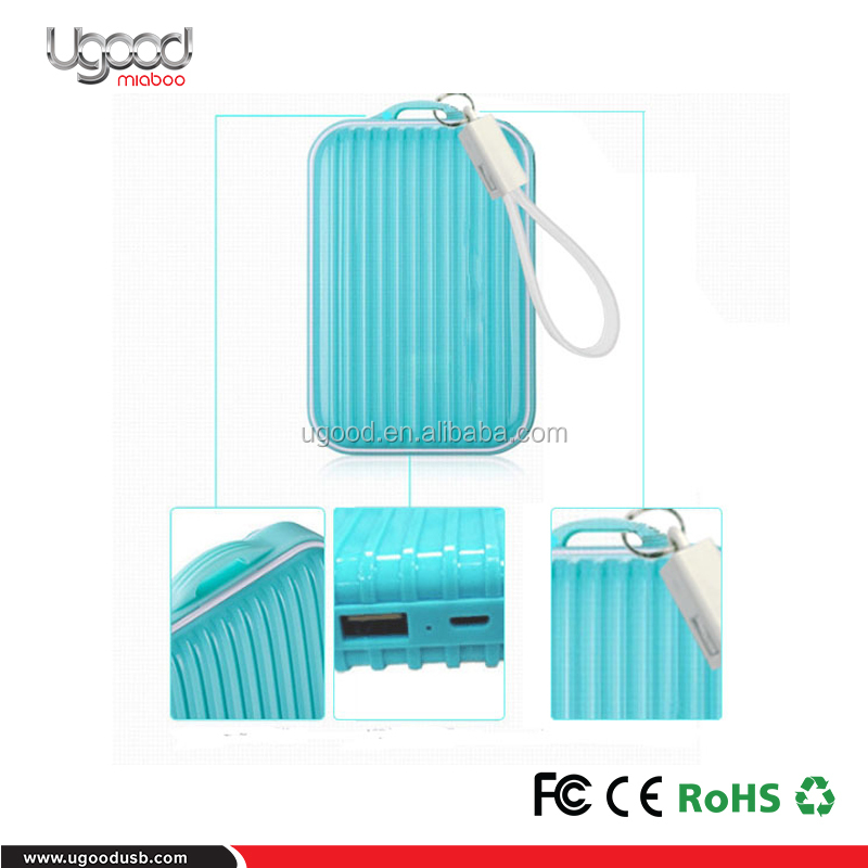 New products Traveling Trolley case Power bank 6000-10000mAh,Macarons Trolley Case portable charger 2 outputs with light