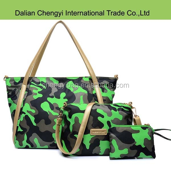 Wholesale European Style Color camouflage women bag with outer pocket