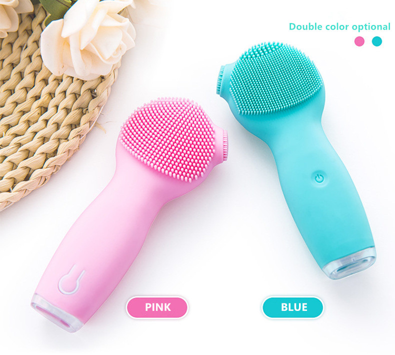 Ultrasonic LED Color Light Handheld Massage Brush Silicone Face Cleanser Facial Cleansing Brush