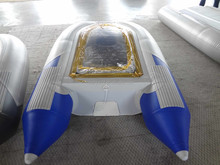 Newest design 0.9mm pvc transparent flat bottom inflatable boat model 200cm to 330cm for sale