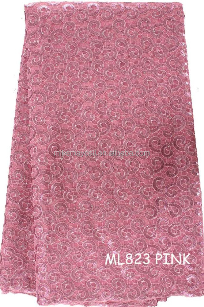 flower embroidered organza fabric for garments ML823 PINK